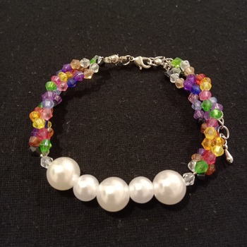 Handmade White Pearl Multi Colours Bracelet