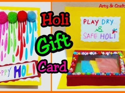 Holi Gift Card Making. Holi Card Making. Beautiful Handmade Holi Card.Gift Card by Arty & Crafty