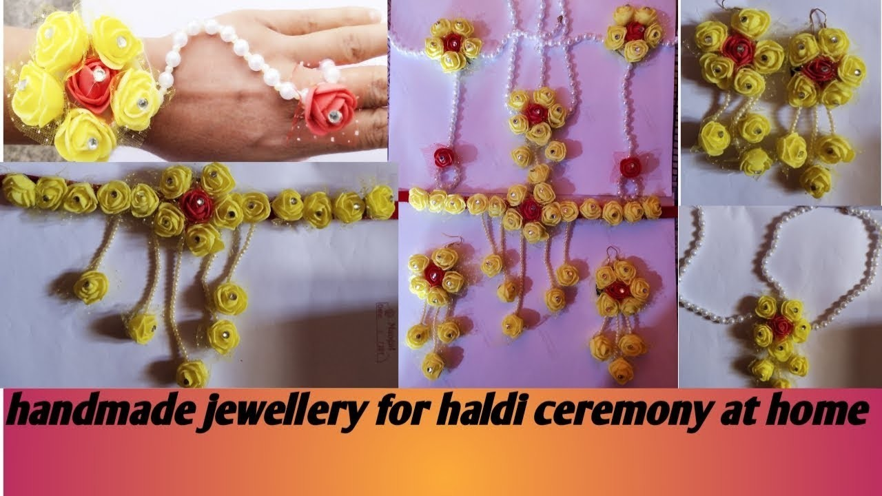 How to make easy  flowers jewellery  at home for haldi ceremony.handmade pholoon ki jewellery