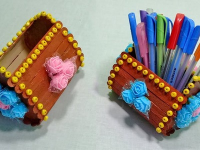 How to make pen stand out of waste ice cream sticks | DIY Creative Way to Reuse Waste