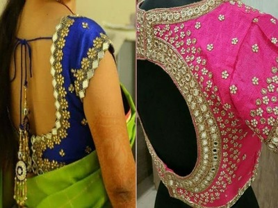 Latest Designer Mirror Beads Blouse Designs For Silk Sarees