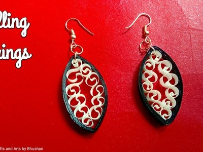 Paper quilling earrings | How to make paper earrings easily at home? #diy #quillingart