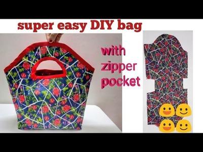 आप चौंक जाएंगे इतना आसान तरीका देखकर. diy handbag cutting and stitching. zipper handbag, cloth bag.