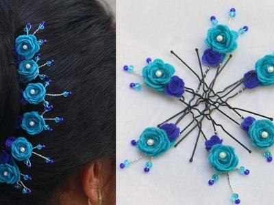 Tutorial of Hair accessory. Felt flower U pins for hair style