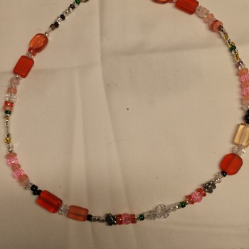 "19"" peach to Pink necklace, earrings 150758"