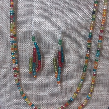 20-inch long necklace with earrings 150821