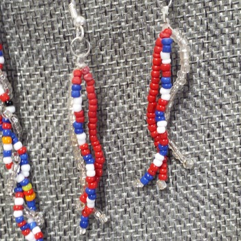 3 strand patriotic necklace and earrings 161133