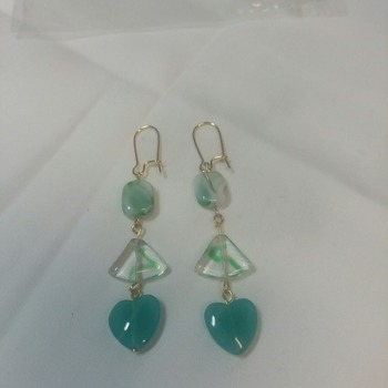 Aqua hearts dangle earrings 143711