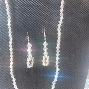 Crystal Bicone glass necklace and Earrings 154938