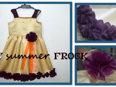 DIY frock with frills and flower .baby frock designs for stitching 4 to 5 year girl