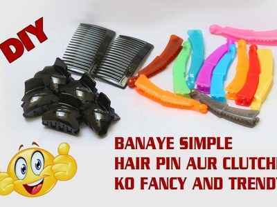 DIY. Simple plain hair pins to fancy party wear hair accessory