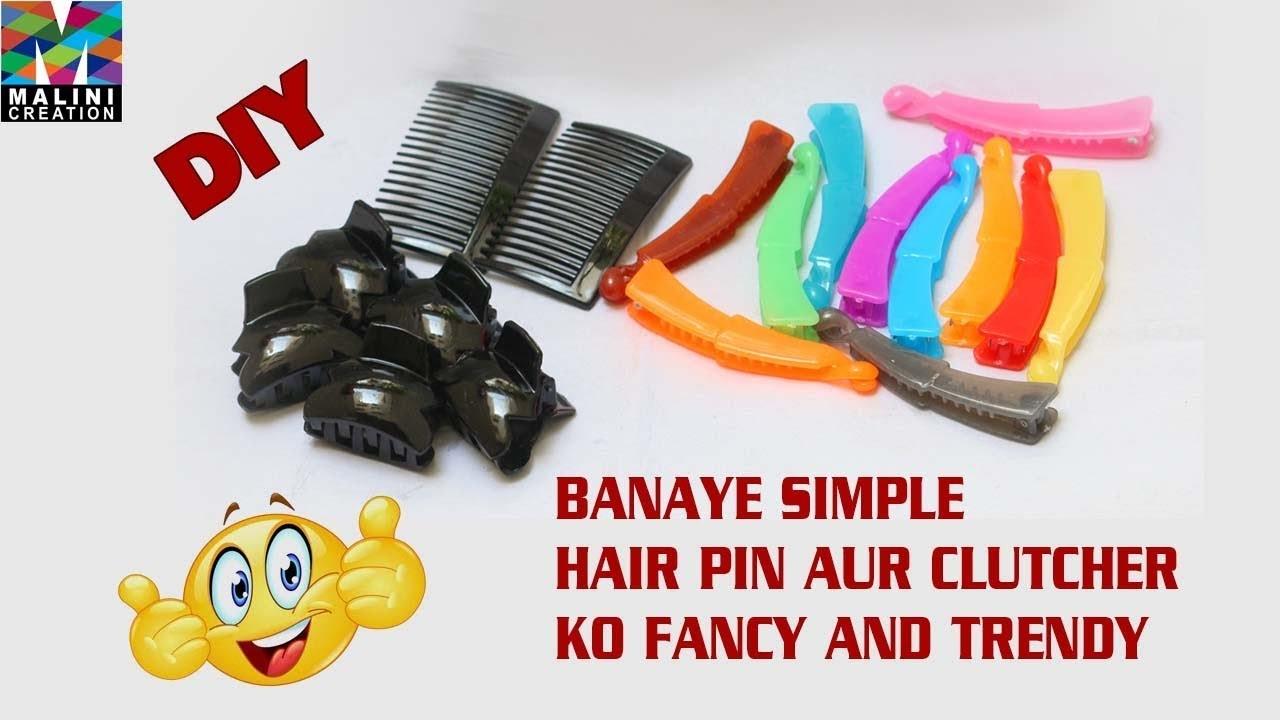 DIY. Simple plain hair pins to fancy party wear hair accessory