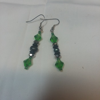 Green glass bicone and smokey flats earrings  115752