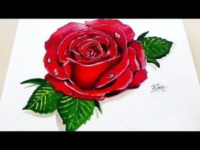 How to Paint a 3D Red Rose