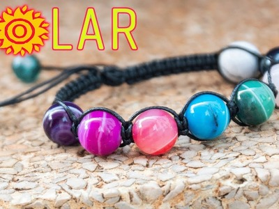 Macrame bracelet tutorial - The Solar with 8 planet - So I think owner should be the Sun!