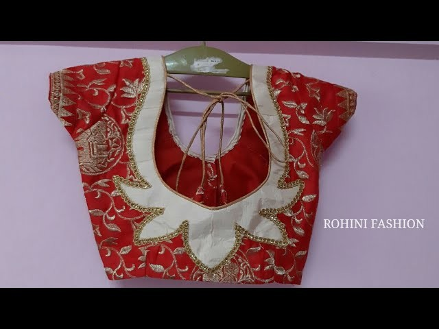 Model designer patchwork blouse|cutting and stitching back neck