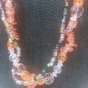Orange Glass ans acrylic Necklace 1506372