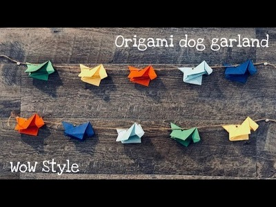 Origami dog tutorial. paper garland decor