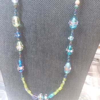Painted Glass beads Necklace 152429