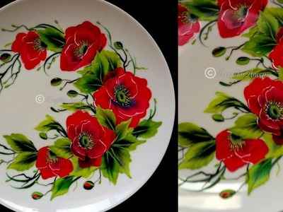 Painting for beginners - painting tutorial on how to paint flowers on ceramic plate - diy
