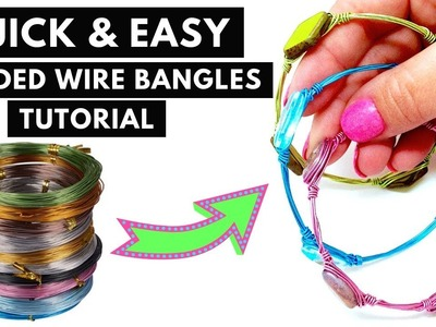 QUICK and EASY Colorful, Stackable Beaded WIRE Bangle BRACELET TUTORIAL| Beebeecraft.com