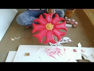 थर्माकोल डिजाइन,  flower design , Thermocol cutting , painting art, hindi tutorial