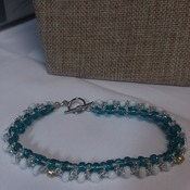 Turquoise and white with silver Bracelet 102707