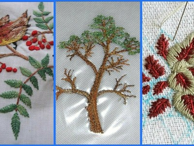 Beautiful hand embroidery flower & trees design