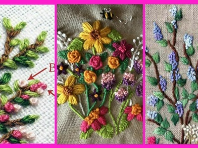 Beautiful Hand work embroidery flower designs.