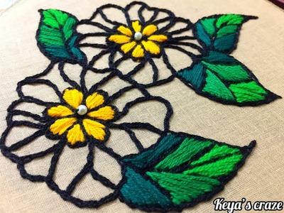 Beginners Flower design embroidery 2019 | Beginners hand embroidery patterns | Keya's craze