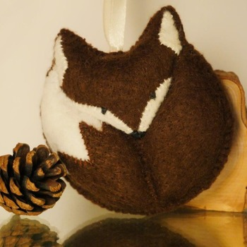 Felt Fox Pouch Purse Plush Soft Brown Animal Hanging Wildlife Pocket