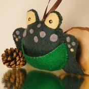 Felt Frog Pouch Purse Plush Soft Animal Hanging Wildlife Pocket