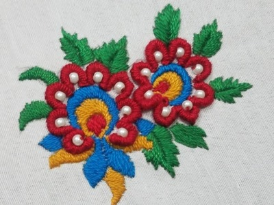 Hand embroidery beautiful flower all over design for cusion covers & bedsheet,Easy hand stitch