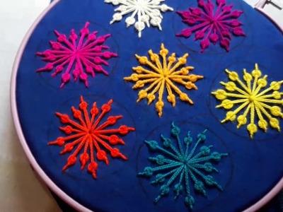 Hand Embroidery : Beautiful  Spider Web Stitch Flower Design.