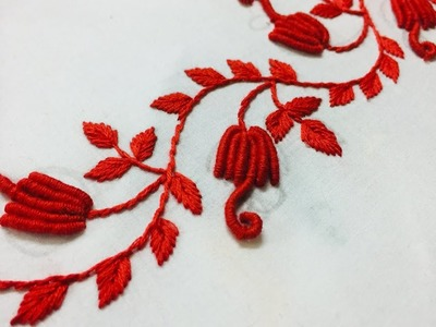 Hand Embroidery:borderline embroidery design by nakshi design art.
