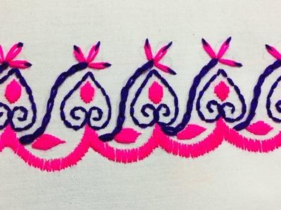 Hand Embroidery:borderline embroidery design by nakshi design art.