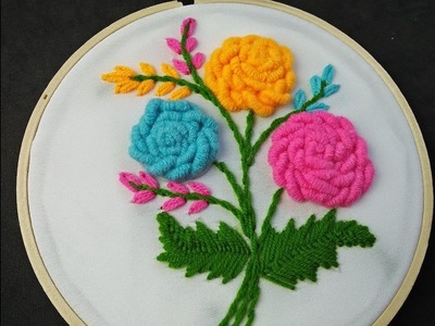 Hand Embroidery | Brazilian Embroidery | Bullion knot Rose Embroidery | Flower Embroidery Tutorial