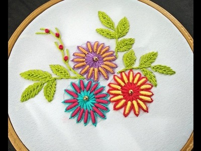 Hand Embroidery | Bullion Knot Flower | Bullion Knot Flower Embroidery | Flower Embroidery Tutorial