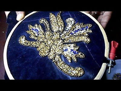 Hand embroidery design and pattern on velvet fabric Roz fashion