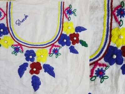 Hand Embroidery Designs for dresses !! Making flower with pearl embroidery - Modern Hand Embroidery