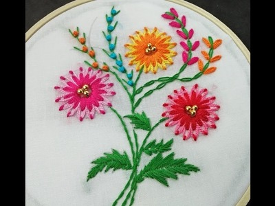 Hand Embroidery | Double Colour Lazy Daisy Flower | Flower Embroidery For Beginners Tutorial
