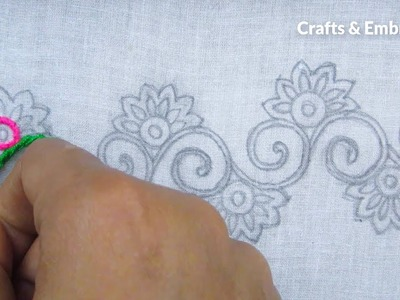 Hand Embroidery, Easy Border Line Embroidery Tutorial