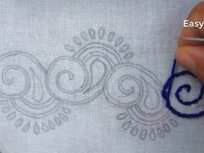 Hand embroidery,Easy border embroidery design tutorial 11