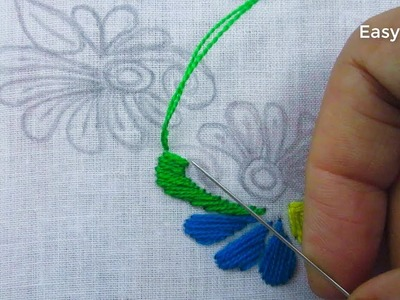 Hand embroidery,Easy nakshi kantha border line embroidery design tutorial