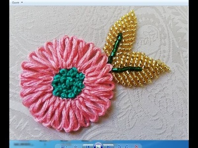 Hand embroidery,embroidery flower made with braid stitch.