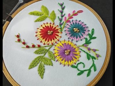Hand Embroidery   Lazy Daisy Stitch Flower   Flower Embroidery Tutorial   Embroidery For Beginners
