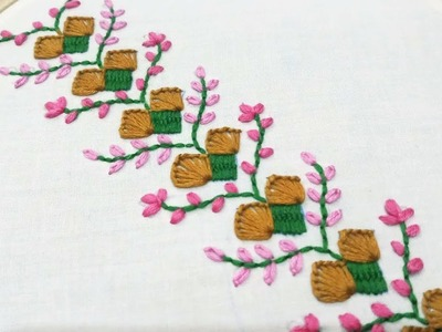 Hand embroidery of a border design