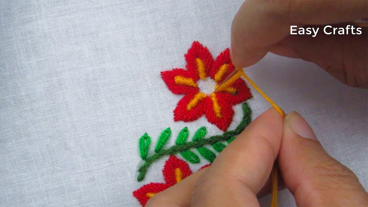 Hand embroidery,Simple border embroidery design tutorial