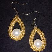 Handmade White Pearl Golden Teardrop Earrings