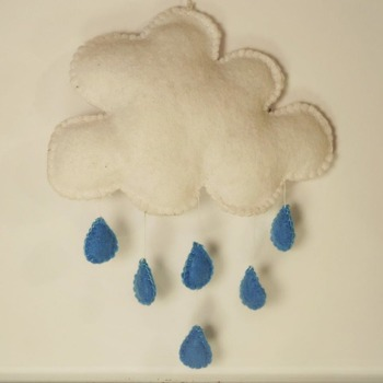 Hanging Cloud Rain Drops Fluffy White Raining Blue Mobile Home Decor
